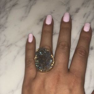 Purple druzy stone ring